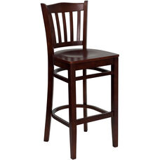 Mahogany Finished Vertical Slat Back Wooden Restaurant Barstool