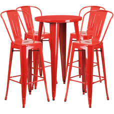 "Commercial Grade 24"" Round Red Metal Indoor-Outdoor Bar Table Set with 4 Cafe Stools"