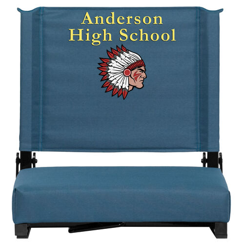 Our Embroidered Grandstand Comfort Seats by Flash with Ultra-Padded Seat in Teal is on sale now.