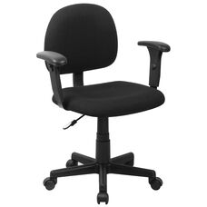 Mid-Back Black Fabric Swivel Task Office Chair with Adjustable Arms