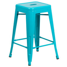"Commercial Grade 24"" High Backless Crystal Teal-Blue Indoor-Outdoor Counter Height Stool"