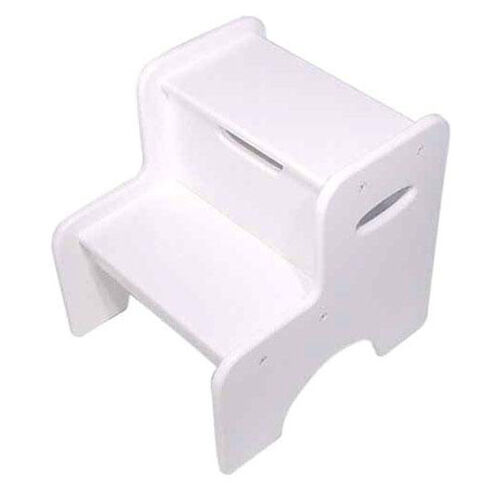 Kids Size Sturdy Hardwood Wide Two Step Stool with Built-in Handles - White