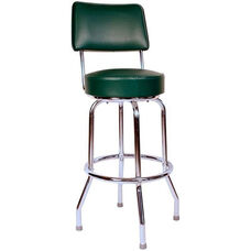 Retro Style Chrome Frame 30''H Swivel Bar Stool with Backrest and Padded Seat - Green Vinyl