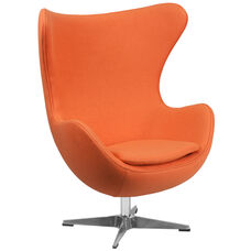 Orange Wool Fabric Egg Chair with Tilt-Lock Mechanism
