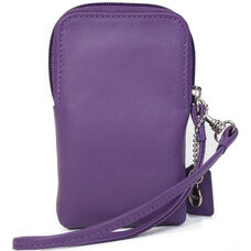 Smartphone or Camera Wristlet Wallet - Top Grain Nappa Leather - Purple
