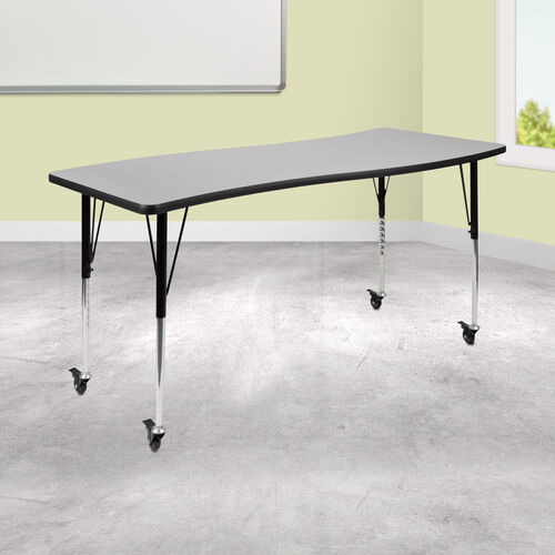 """Mobile 26""""W x 60""""L Rectangular Wave Collaborative Grey Thermal Laminate Activity Table - Standard Height Adjustable Legs"""