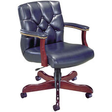 Quick Ship Quick Silver Management Swivel Chair with Tufted Back