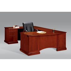 Belmont Left Executive Corner U Desk - Brown Cherry