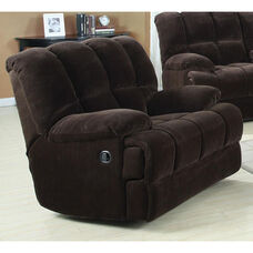 Ahearn Transitional Style Champion Fabric Rocker Recliner with Hand Latch - Chocolate