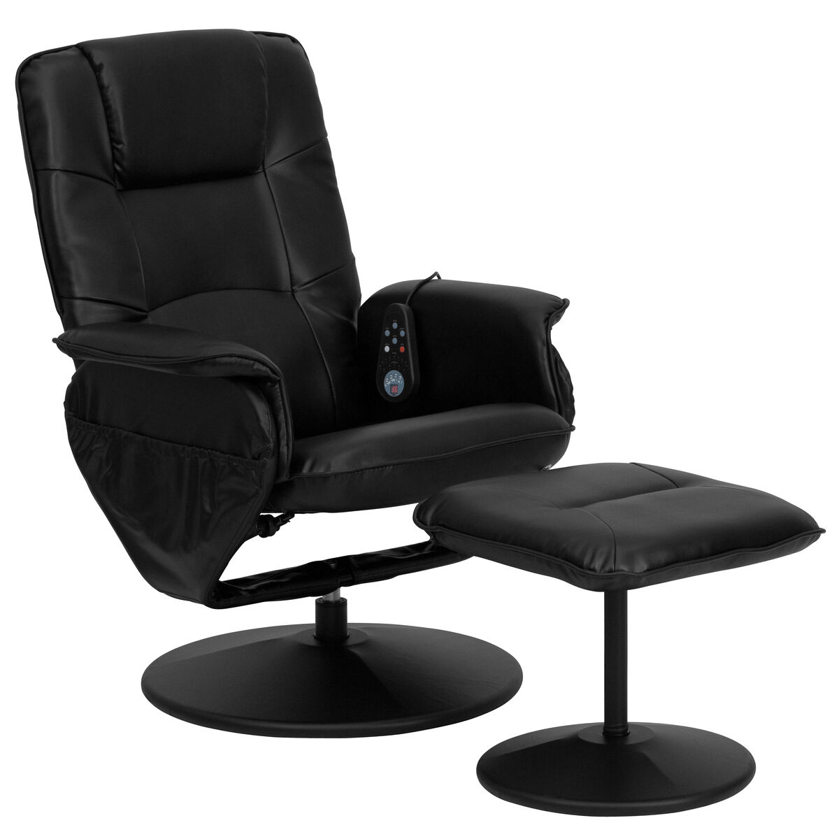 Our Massaging Black Leather Recliner With Deep Side Pockets And Ottoman Is On Now