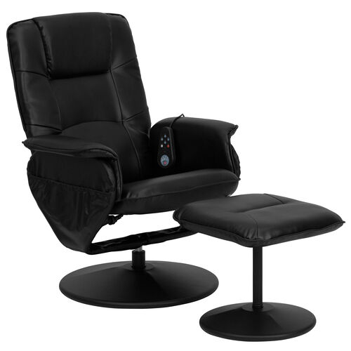 Our Massaging Multi-Position Recliner with Deep Side Pockets and Ottoman with Wrapped Base in Black Leather is on sale now.