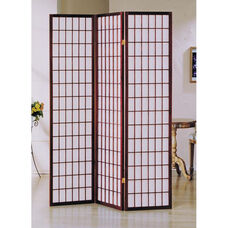 Naomi Decorative Room Divider with Pine Frame and 3 Fabric Panels - Cherry