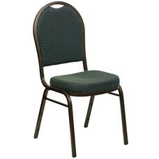 HERCULES Series Dome Back Stacking Banquet Chair in Green Patterned Fabric - Gold Vein Frame