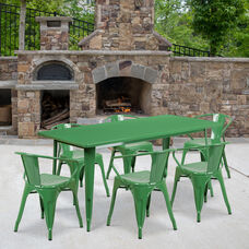 """Commercial Grade 31.5"""" x 63"""" Rectangular Green Metal Indoor-Outdoor Table Set with 6 Arm Chairs"""