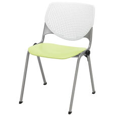 2300 KOOL Series Stacking Poly Armless Chair with White Perforated Back and Lime Green Seat