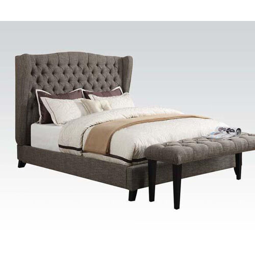 Our Faye Button Tufted Linen Bed with Nailhead Trim - Queen - Two Tone Chocolate is on sale now.
