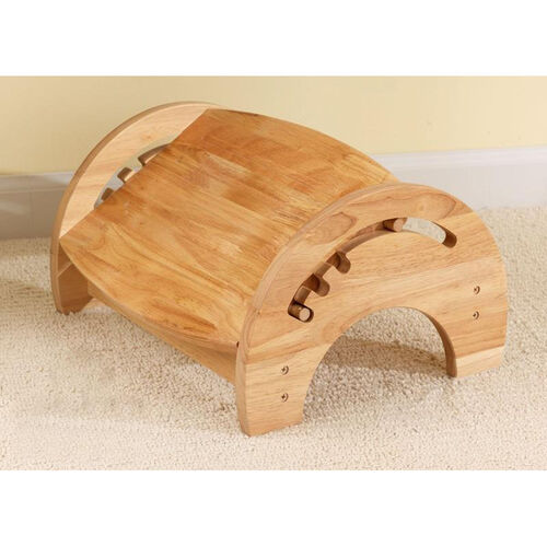 Wooden Adjustable Stool for Nursing with Anti-slip Pads on the Base - Natural