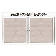 2 Door Outdoor Enclosed Bulletin Board with Header and White Powder Coated Aluminum Frame - 48