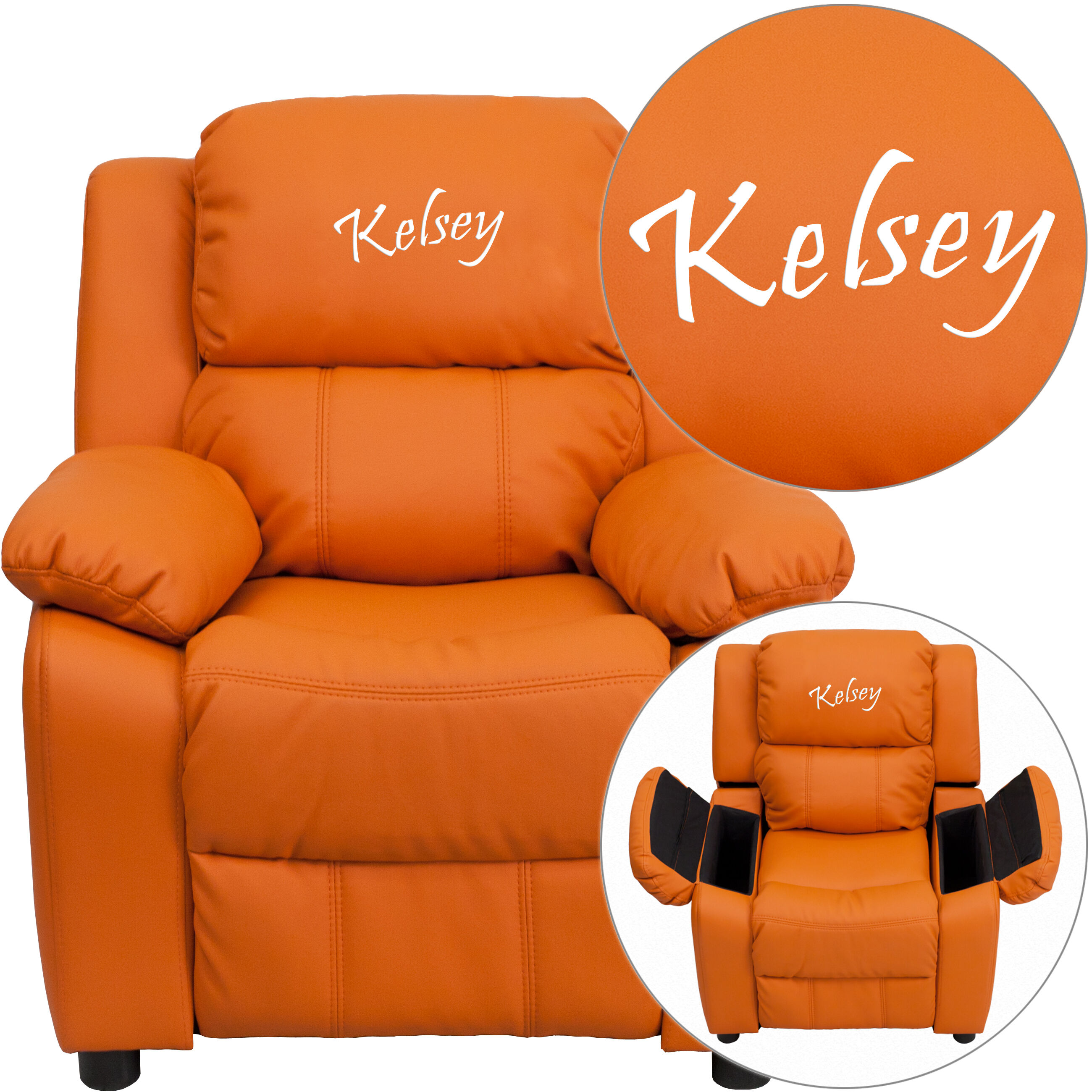 Personalized Deluxe Padded Orange Vinyl Kids Recliner with Storage Arms  sc 1 st  Bizchair.com & Personalized Kids Recliners at low budget prices | Bizchair.com islam-shia.org