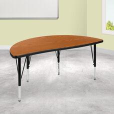 "47.5"" Half Circle Wave Collaborative Oak Thermal Laminate Activity Table - Height Adjustable Short Legs"