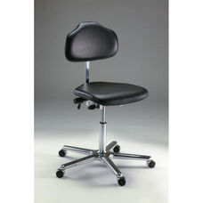 Stera Class 10 Clean Room Series Chair with Dark Charcoal Vinyl Conductive Seat and Self Braking ESD Casters - Low Profile