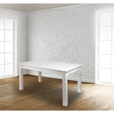 """60"""" x 38"""" Rectangular Antique Rustic White Solid Pine Farm Dining Table"""