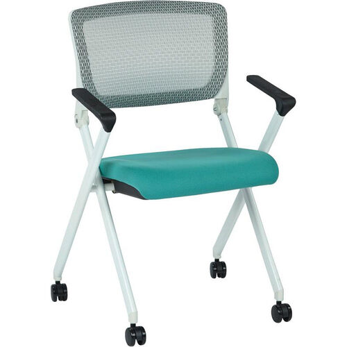 Our Space Pulsar Folding Chair with Breathable Mesh Back and Fabric Seat - Set of 2 - Jade is on sale now.