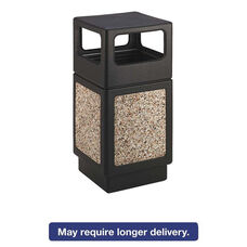Safco® Canmeleon Side-Open Receptacle - Square - Aggregate/Polyethylene - 38gal - Black