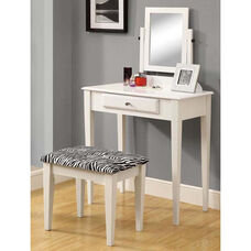 Wooden 2 Piece Vanity Set with Zebra Print Upholstered Stool - White