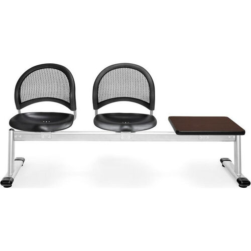 Our Moon 3-Beam Seating with 2 Black Plastic Seats and 1 Table - Mahogany Finish is on sale now.