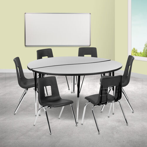 """60"""" Circle Wave Collaborative Laminate Activity Table Set with 16"""" Student Stack Chairs, Grey/Black"""