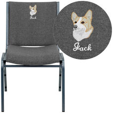 Embroidered HERCULES Series Heavy Duty Gray Fabric Stack Chair
