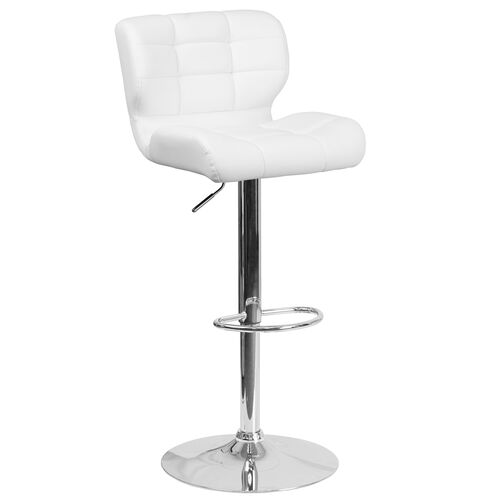 Our Contemporary Tufted White Vinyl Adjustable Height Barstool with Chrome Base is on sale now.