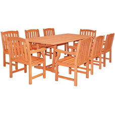Malibu Outdoor 9 Piece Wood Patio Dining  Set with Rectangular Extension Table and 8 Slat Back Armchairs