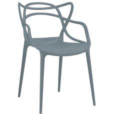 Masters Polypropylene Slate Modern Stackable Arm Chair - Set of 4