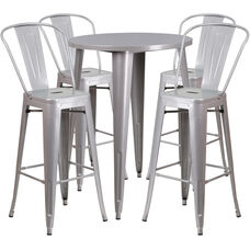 """Commercial Grade 30"""" Round Silver Metal Indoor-Outdoor Bar Table Set with 4 Cafe Stools"""