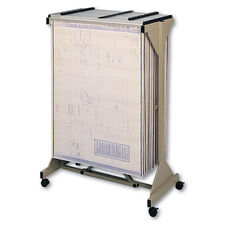 Safco® Mobile Plan Center Sheet Rack - 18 Hanging Clamps - 43 3/4 x 20 1/2 x 51 - Sand