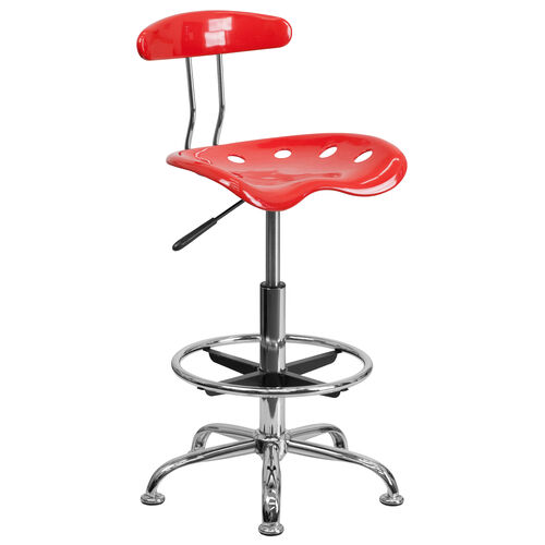 Our Vibrant Cherry Tomato and Chrome Drafting Stool with Tractor Seat is on sale now.