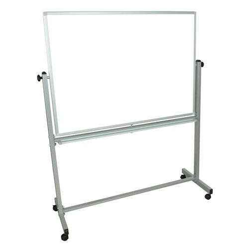Doubled Sided Aluminum Frame Magnetic Mobile White Board with Marker Tray - 52