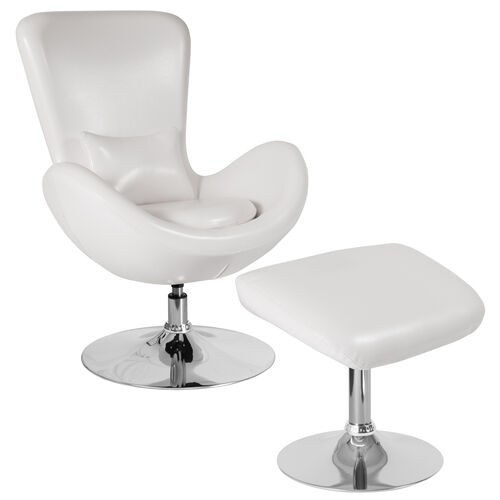 Our Egg Series White Leather Side Reception Chair with Ottoman is on sale now.