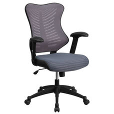High Back Designer Gray Mesh Executive Swivel Chair with Adjustable Arms