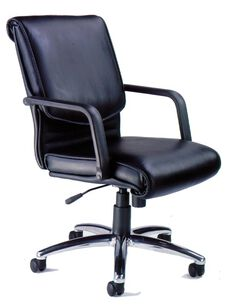 Mercado Alliance Chair with Adjustable Seat Height - Black Leather