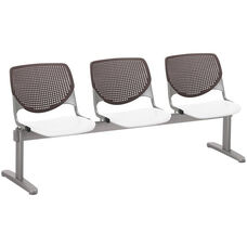 2300 KOOL Series Beam Seating with 3 Poly Brownstone Perforated Back Seats and White Seats