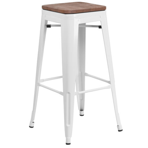 """Our 30"""" High Backless White Metal Barstool with Square Wood Seat is on sale now."""