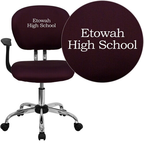 Our Embroidered Mid-Back Burgundy Mesh Padded Swivel Task Office Chair with Chrome Base and Arms is on sale now.