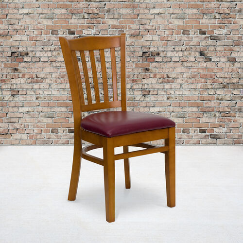 Cherry Finished Vertical Slat Back Wooden Restaurant Chair with Burgundy Vinyl Seat