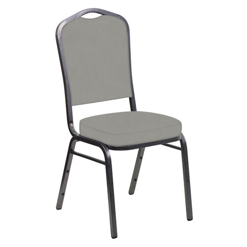 Our Embroidered E-Z Wallaby Gray Vinyl Upholstered Crown Back Banquet Chair - Silver Vein Frame is on sale now.