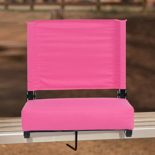 Our Grandstand Comfort Seats by Flash with Ultra-Padded Seat in Pink is on sale now.
