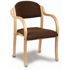 Supremacy Euro Style Laminated Hardwood Stack Chair with Arms - Open Back