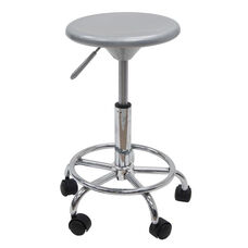 Height Adjustable Studio Stool with Chrome Footring and 5 Casters - Silver